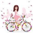 obraz - flower girl on bike