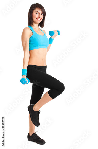 Woman working out isolated on white