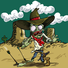 Cartoon zombie cowboy with green skin