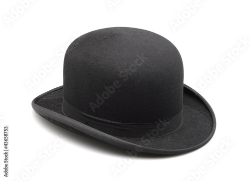 A stylish black bowler hat