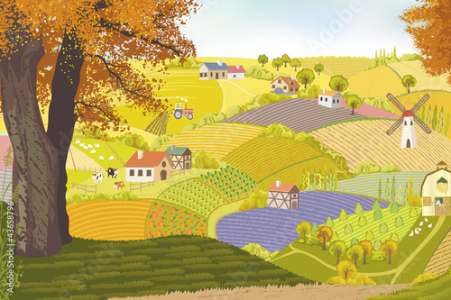 View from a hill on a farm in autumn.