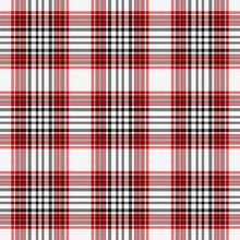 Seamless Red, White & Black Plaid