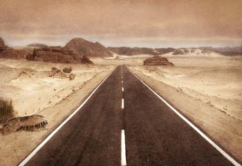 Strada nel deserto e fossile di dinosauro