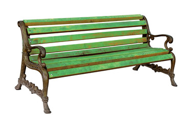 High quality stylish vintage park wooden and cast-iron bench iso