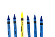 Five Blue And One Yellow Crayons On White
