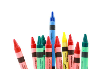 Assorted Crayons With One Standing Above The Others