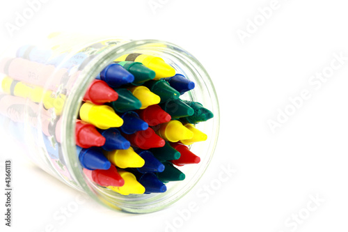 Colorful Wax Crayons In A Glass Jar