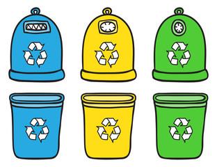 Set of recycle trash bins