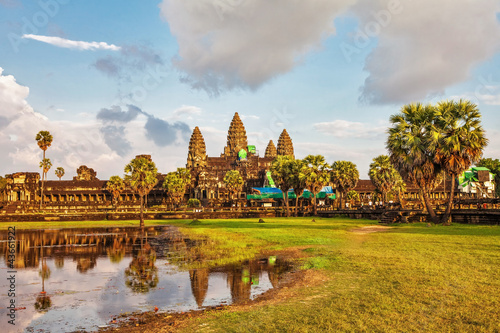 angkor wat temple in sunset light