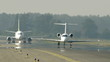HD - Commercial and passenger planes on the runway