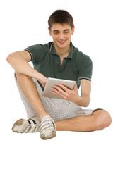 teenage boys using ipad