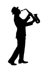 A silhouette of a full length portrait of a man in a suit playin