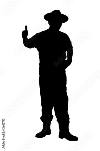 A silhouette of a full length portrait of a senior farmer giving