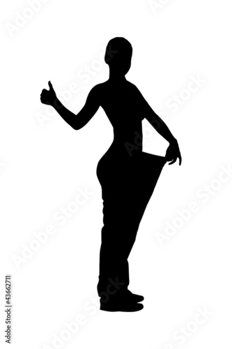A silhouette of a full length portrait of a weightloss woman giv