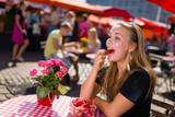 Girl on market cafe