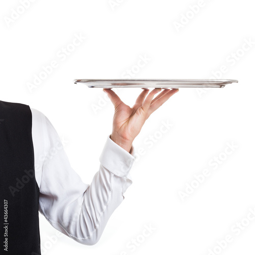 Waiter holding a dish. Isolated on white