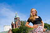 Girl and Uspenski Cathedral