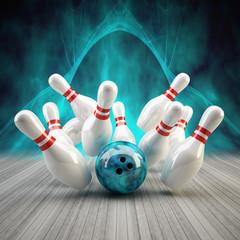 Bowling Strike blau fractal