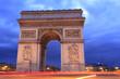 Arc de Triomphe at dusk, Paris, France