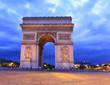 Arc de Triomphe at dusk, Paris