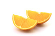 Navel seedless orange on white background
