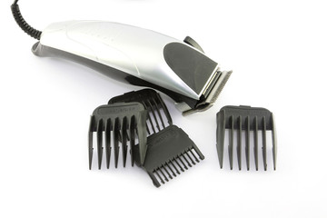 black hair clipper on white background