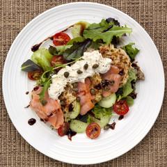 Smoked Salmon Salad with Potato Rosti
