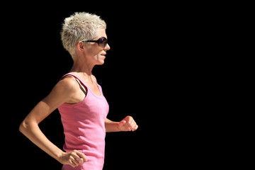 Fit caucasian woman running