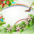 Elegant background with beautiful flowers, rainbow and butterfly