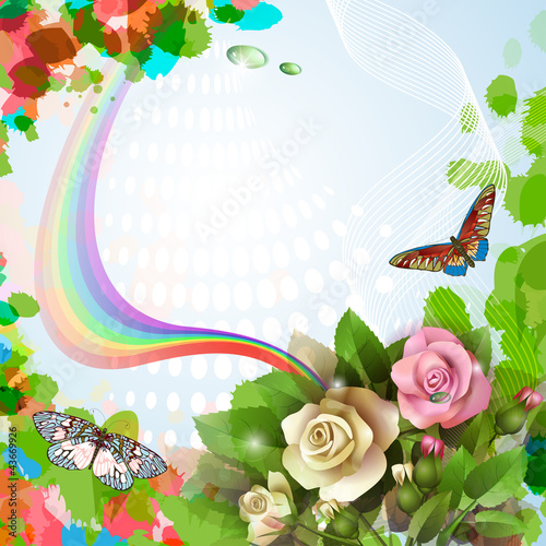 Elegant background with beautiful roses and rainbow