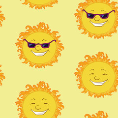 Seamless background, smiling cartoon sun