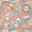 Hawaii vintage stickers seamless pattern