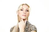 beautiful blond woman, portrait in studio