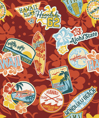 Hawaii Stickers seamless pattern