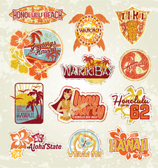 Hawaii vintage stickers