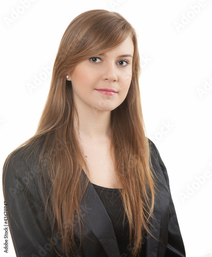 smiling beautiful young woman in black clothes