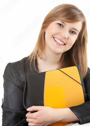cheerful female student looking at camera