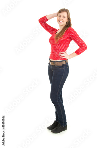 smiling teenage girl with raised arm