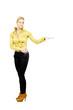 beautiful girl, yellow blouse, studio portrait