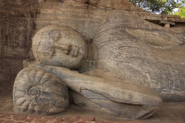 Portrait of reclining Buddha, Polonnaruwa, Sri Lanka