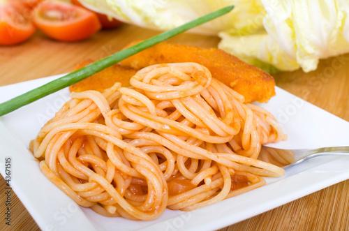 Fischstäbchen und Pasta