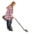 young woman with a vacuum cleaner, full length