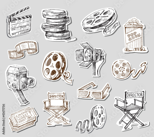 movie camera-hand drawn