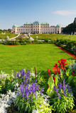 Fototapety Vienna - Belvedere Palace with flowers - Austria
