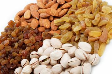 Nut-raisin mix. Almond and pistachio nuts and raisins.