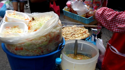 Salad and thai food on sale on the streets,Bangkok, Thailand