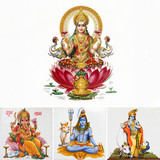 composition with hindu gods, India, Asia