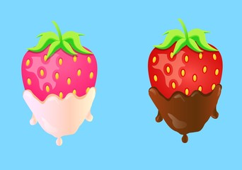 Two strawberries in cream and chocolate