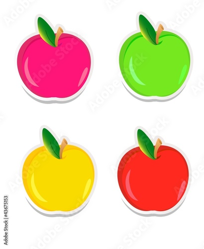Colorful apple stickers