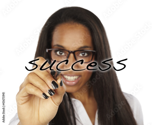 african succes business woman drawing a graph